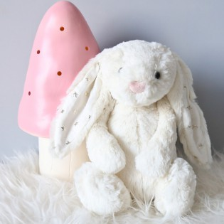 Peluche Baschful lapin blanc étoiles (moyen) Jellycat