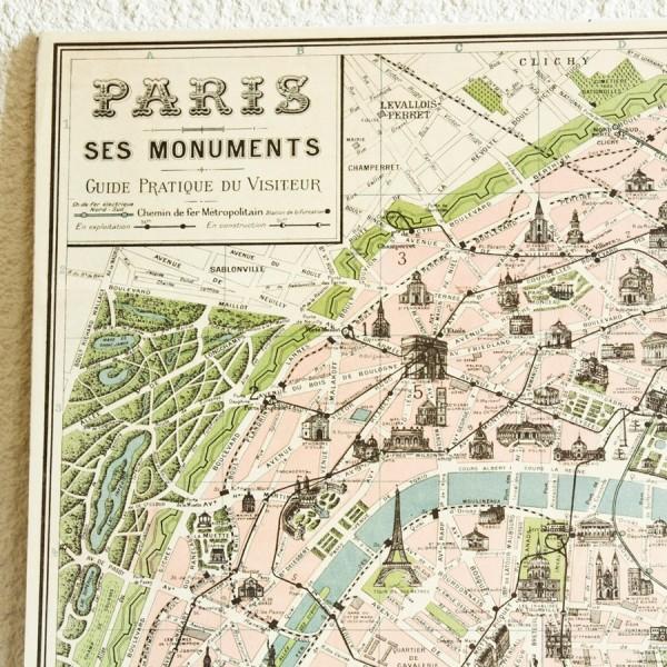 carte vintage de paris poster carte de paris ancien. Black Bedroom Furniture Sets. Home Design Ideas