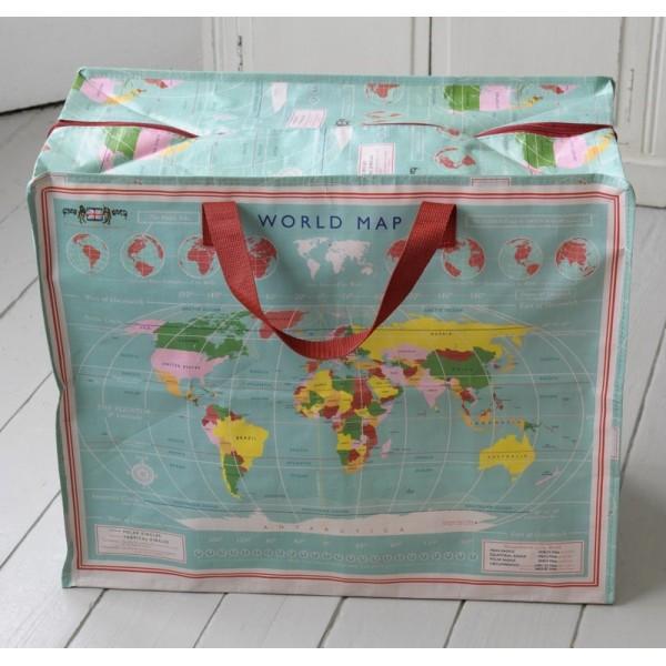 Grand sac rangement carte du monde - Rangement cartes postales ...